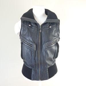Mango leather biker vest